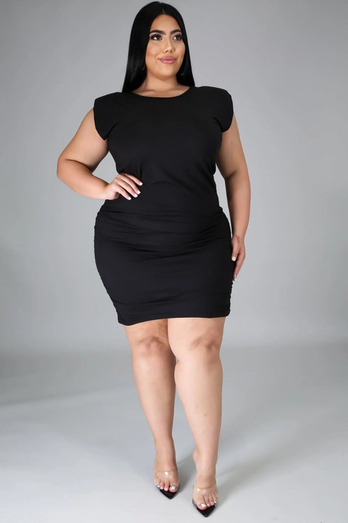RUCHED MIDI DRESS-DRESS-Fashion Bombshellz | Online Boutique