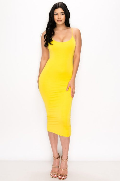 JESSICA MIDI DRESS | YELLOW-DRESS-Fashion Bombshellz | Online Boutique