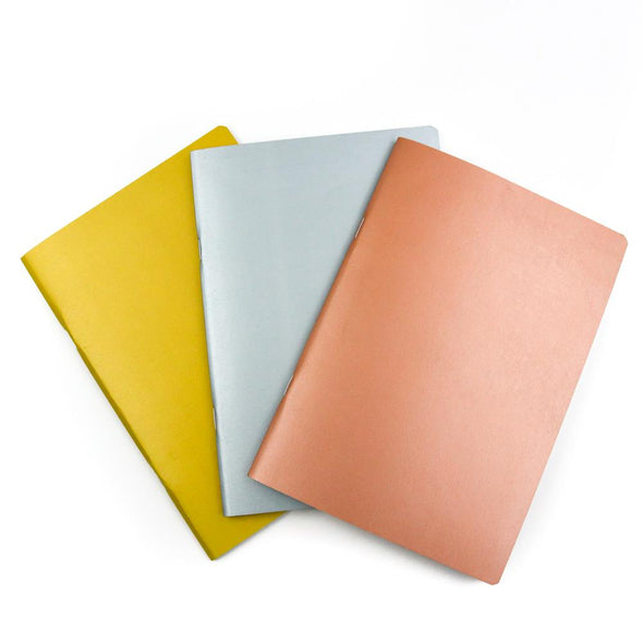 Satin Metals | A5 Stone Paper Notebook Trio