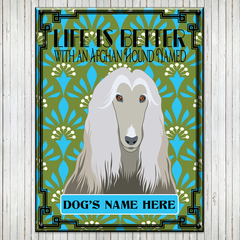 "* PERSONALIZED  12""x16"" Afghan Hound Metal Signs"