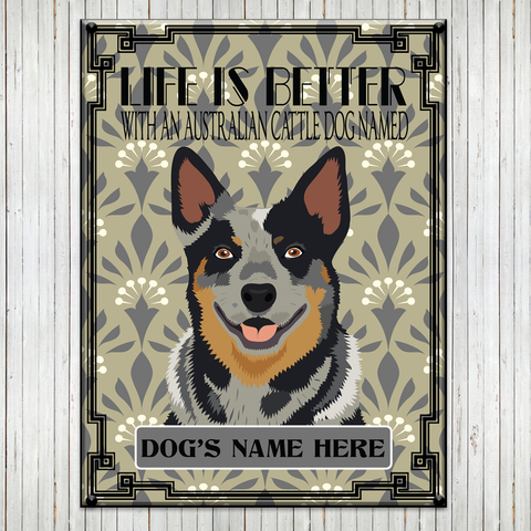 "* PERSONALIZED  12""x16"" Australian Cattle Dog Metal Signs"