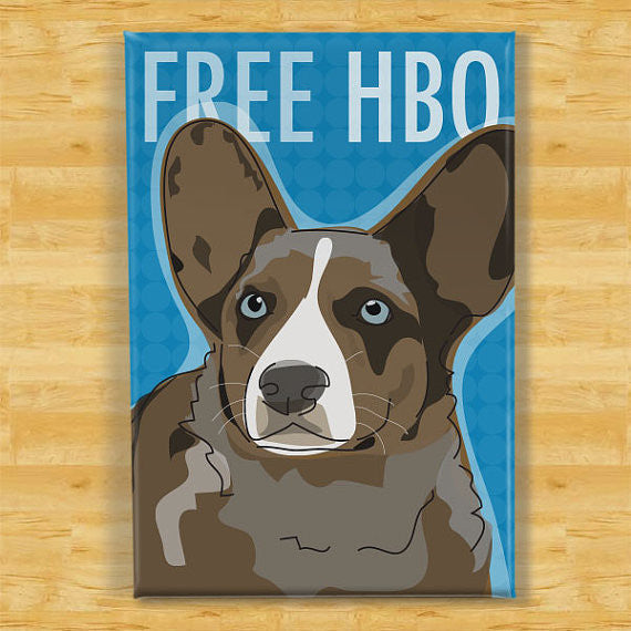 Cardigan Corgi Magnet - Free HBO - Blue Merle Cardigan Corgi Gifts Refrigerator Dog Fridge Magnets