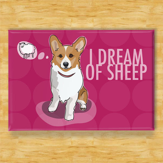 Corgi Dog Magnet - I Dream of Sheep - Red Pembroke Corgi Gift Refrigerator Fridge Dog Magnet