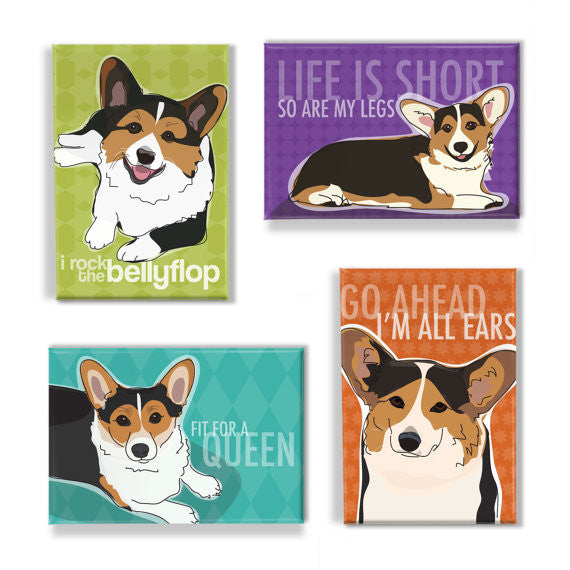 Corgi Magnet Set - Tri Color Corgi Magnets Pembroke Welsh