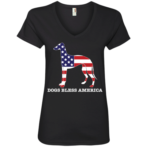* Greyhounds Bless America Ladies' V-Neck Tee