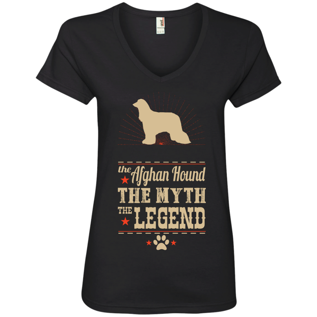 *    The Legend Afghan Hound - Ladies' V-Neck Tee