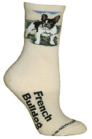 ** Quality Frenchie Blended Cream Crew Socks