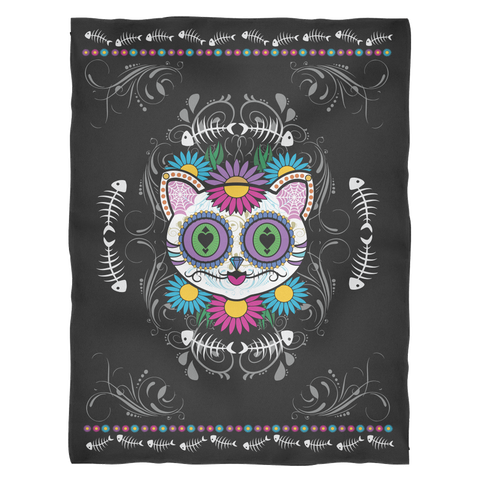 *Sugar Skull Cat Blanket