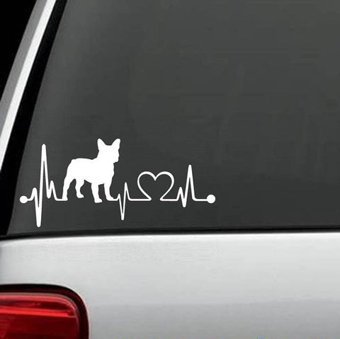 A1 Frenchie Heartbeat Dog Decal