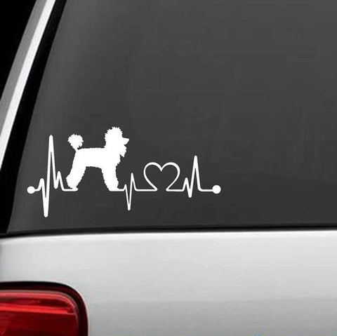 *** Poodle Heartbeat Dog Decal