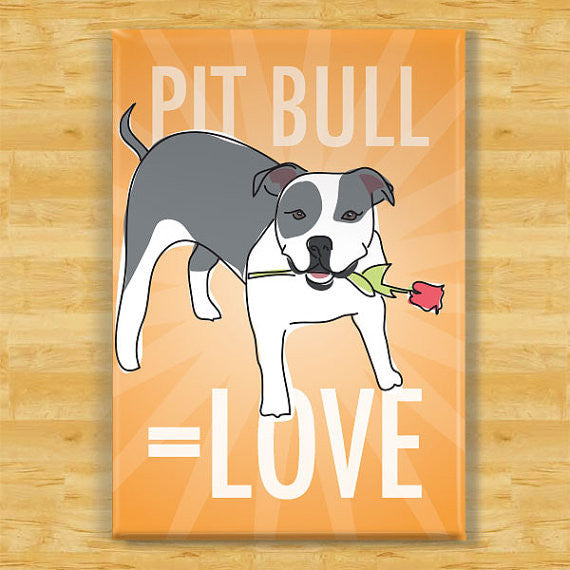 Pit Bull Fridge Magnet - Love - Blue and White Pit Bull Gifts Dog Refrigerator Fridge Magnets I Love You Valentines Day