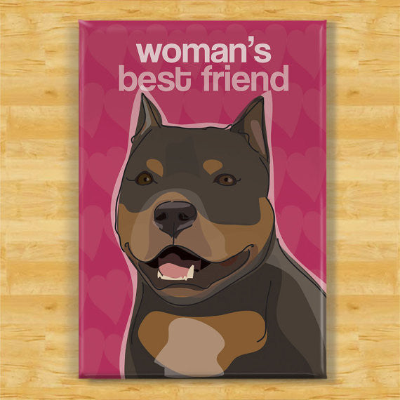 Pit Bull Refrigerator Magnet - Woman's Best Friend - Black Pit Bull Gifts Dog Fridge Refrigerator Magnets