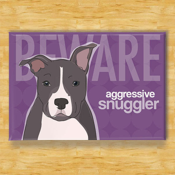 Refrigerator Magnet with Pit Bull - Beware Aggressive Snuggler - Blue Pit Bull Gifts Fridge Dog Refrigerator Magnets