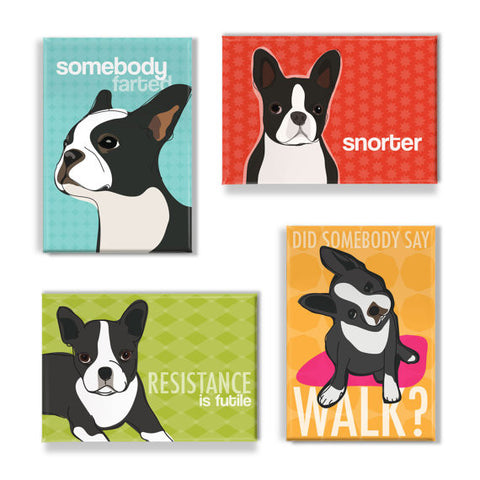 ** Boston Terrier Lab Magnet Set