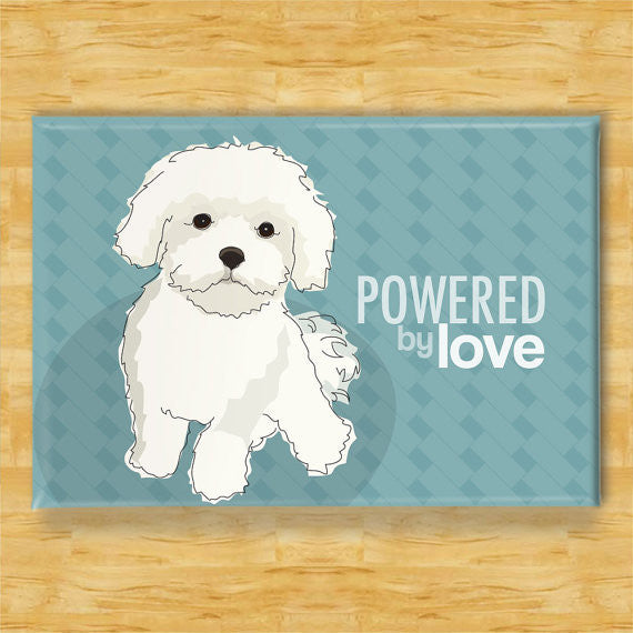 ** Maltese Fridge Magnet - Powered by Love
