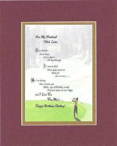 Poem for Birthday/Love and Marriage - To My Husband With Love. . . Poem on 11 x 14 inches Double Beveled Matting (Burgundy)