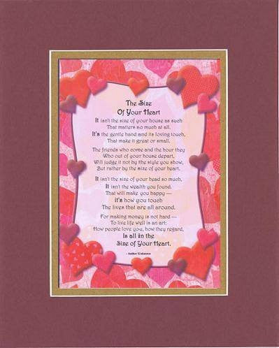 Touching and Heartfelt Poem for Loving Partners - The Size of Your Heart Poem on 11 x 14 inches Double Beveled Matting (Burgundy)