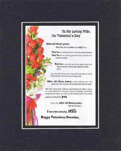 Touching and Heartfelt Poem for Loving Partners - To My Loving Wife On Valentine's Day Poem on 11 x 14 inches Double Beveled Matting (Black on Black)