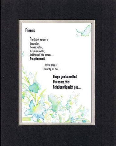 Touching and Heartfelt Poem for Special Friends - Friends Poem on 11 x 14 inches Double Beveled Matting