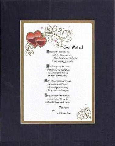 Touching and Heartfelt Poem for Love & Marriage - Soul Mates!  on 11 x 14 CUSTOM-CUT EXTRA-WIDE Double Beveled Matting