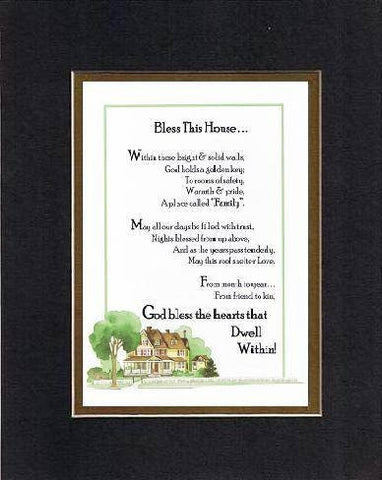 Touching and Heartfelt Poem for Home - Bless This House . . . Poem on 11 x 14 inches Double Beveled Matting