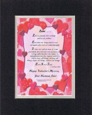 Touching and Heartfelt Poem for Loving Partners - Love . . .Love is patient, Poem on 11 x 14 inches Double Beveled Matting (Black on White)