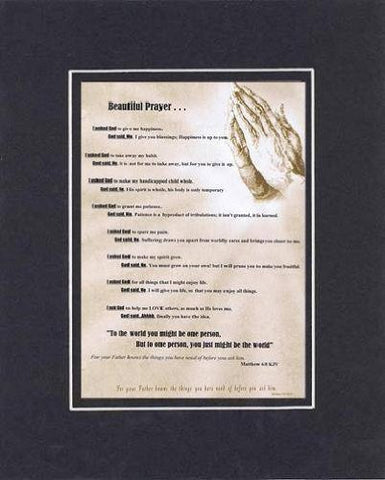 Touching and Heartfelt Poem for Inspirations - Beautiful Prayer Poem on 11 x 14 inches Double Beveled Matting (Black on Black)
