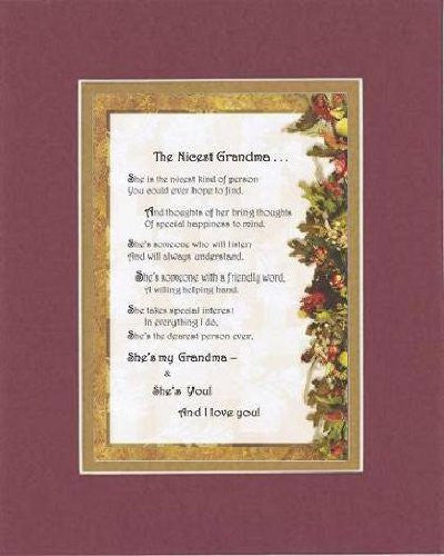 Touching and Heartfelt Poem for GrandParents - The Nicest Grandma Poem on 11 x 14 inches Double Beveled Matting (Burgundy)