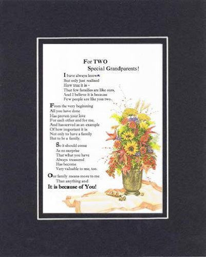 Touching and Heartfelt Poem for GrandParents - For Two Special Grandparents Poem on 11 x 14 inches Double Beveled Matting