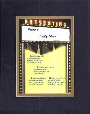 Touching and Heartfelt Poem for Fathers - [Father's Family Name ] on 11 x 14 CUSTOM-CUT EXTRA-WIDE Double Beveled Matting