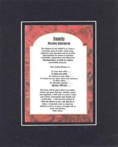 Touching and Heartfelt Poem for Home - Family Mission Statement Poem on 11 x 14 inches Double Beveled Matting