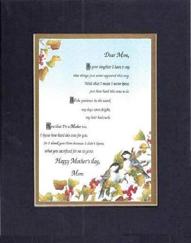 Touching and Heartfelt Poem for Mothers - Dear Mom, on 11 x 14 inches Double Beveled Matting