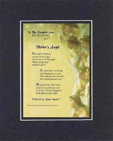 Personalized Touching and Heartfelt Poem for Daughters - Mother's Angel Poem on 11 x 14 inches Double Beveled Matting