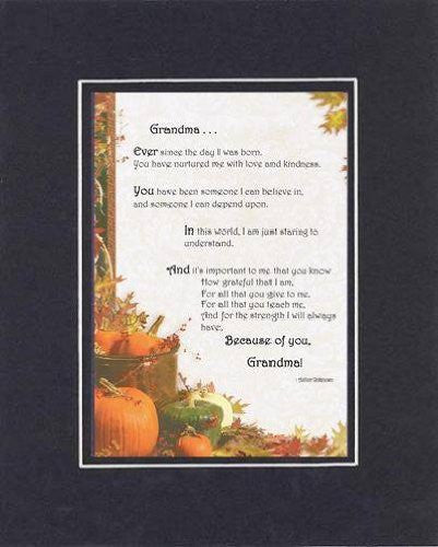 Touching and Heartfelt Poem for GrandParents - Grandma Poem on 11 x 14 inches Double Beveled Matting (Black on Black)