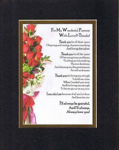 Touching and Heartfelt Poem for Parents - For My Wonderful Parents with Love and Thanks Poem on 11 x 14 inches Double Beveled Matting
