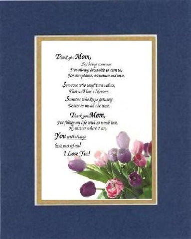 Heartfelt Plaque for Mother -  Thank you Mom Poem on 11 x 14 inches Double Beveled Matting