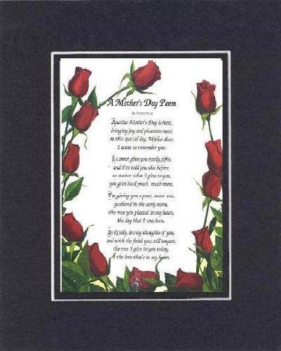 Touching and Heartfelt Poem for Mothers - [A Mother's Day Poem ] on 11 x 14 CUSTOM-CUT EXTRA-WIDE Double Beveled Matting