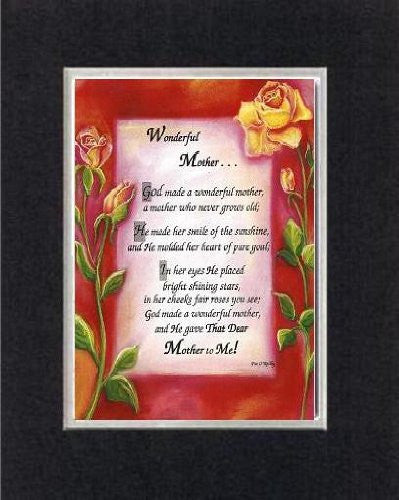 Touching and Heartfelt Poem for Mothers - [Wonderful Mother . . . ] on 11 x 14 CUSTOM-CUT EXTRA-WIDE Double Beveled Matting