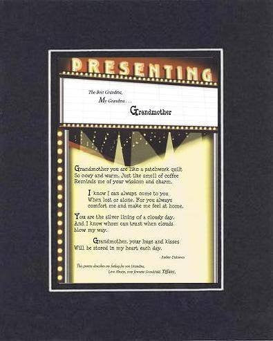 Personalized Touching and Heartfelt Poem for Grandmother - Grandmother . . . Poem on 11 x 14 inches Double Beveled Matting