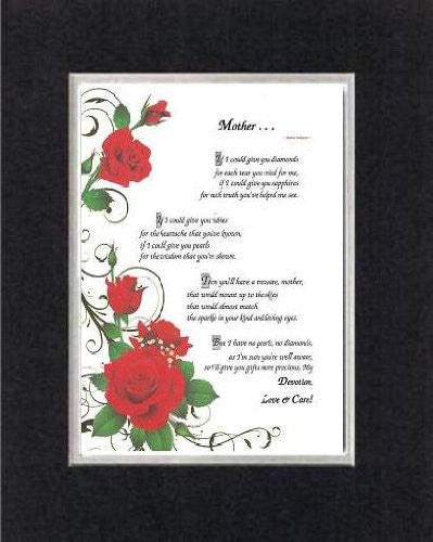 Touching and Heartfelt Poem for Mothers - Mother . . . on 11 x 14 CUSTOM-CUT EXTRA-WIDE Double Beveled Matting