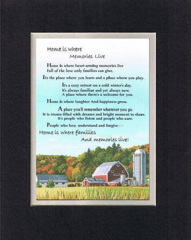 Touching and Heartfelt Poem for Home - Home Is Where Memories Live Poem on 11 x 14 inches Double Beveled Matting
