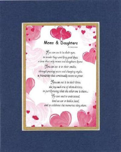 Touching and Heartfelt Poem for Mothers - [Moms & Daughters ] on 11 x 14 CUSTOM-CUT EXTRA-WIDE Double Beveled Matting
