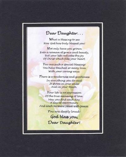 Dear Daughter - Heartfelt Plaque for Daughters on 11 x 14 Double-Beveled Matting