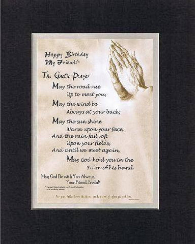 Personalized Touching and Heartfelt Poem for Inspirations - The Gaelic prayer Poem on 11 x 14 inches Double Beveled Matting (Black on White)