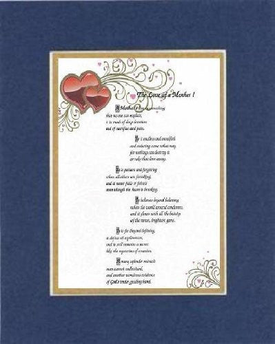 Touching and Heartfelt Poem for Mothers - [The Love of a Mother! ] on 11 x 14 CUSTOM-CUT EXTRA-WIDE Double Beveled Matting