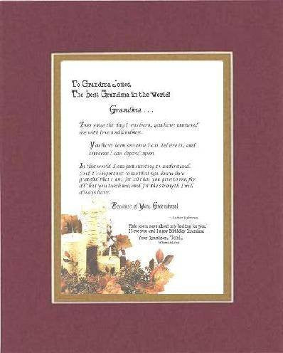 Personalized Poem for Grandmother - Grandma . . . Poem on 11 x 14 inches Double Beveled Matting