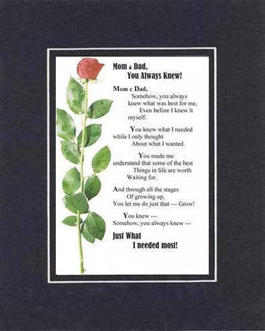 Heartfelt Plaque for Parents -  Mom & Dad, You Always Knew Poem on 11 x 14 inches Double Beveled Matting