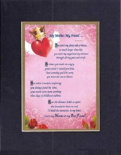 Touching and Heartfelt Poem for Mothers - [My Mother, My Friend . . . ] on 11 x 14 CUSTOM-CUT EXTRA-WIDE Double Beveled Matting