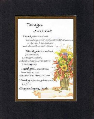 Touching and Heartfelt Poem for Parents - Thank You, Mom and Dad Poem on 11 x 14 inches Double Beveled Matting