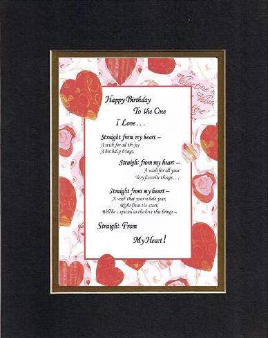 Poem for Birthday/Love and Marriage - Happy Birthday to the One I love . . . Poem on 11 x 14 inches Double Beveled Matting (Black on Gold)